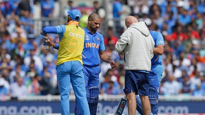 Dhawan ruled out of WC for 3 weeks with fractured thumb